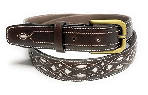 Cinturón de cuero Unisex   Cinturón de piel dibujos   Pespuntes blancos   Cinturón Diseño Sport y Elegante (Marrón oscuro, 105)