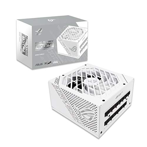ASUS ROG Strix 850W White Edition PSU, Power Supply (ROG heatsinks, Axial-tech Fan Design, Dual Ball Fan Bearings, 0dB Technology, 80 Plus Gold Certification, Fully Modular Cables, 10-Year Warranty)