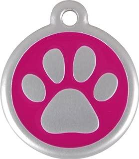 Red Dingo QR Collar Tag, Pawprint, Large, Hot Pink