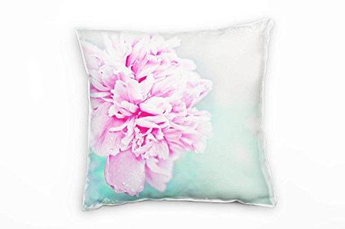 Paul Sinus Art Macro, bloem, roze, roze, groen, licht decoratief kussen 40x40 cm voor bank bank bank lounge sierkussen - decoratie om je goed te voelen