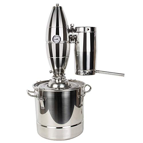 Stainless Steel Water Alcohol Distiller Home Brew Kit Still Wine Making Essential Oil Boiler (20L)