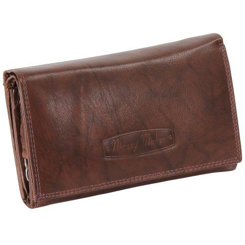 Ledershop24 RFID Damen Leder Geldbörse Damen Portemonnaie Damen Geldbeutel - Lang Braun Leder - Geschenkset + exklusiven Schlüsselanhänger