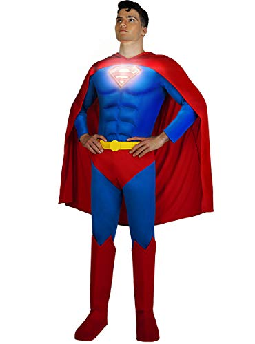 Funidelia | Disfraz de Superman Lights On! Oficial para Hombre Talla XL Hombre de Acero, Superhroes, DC Comics, Justice League - Multicolor