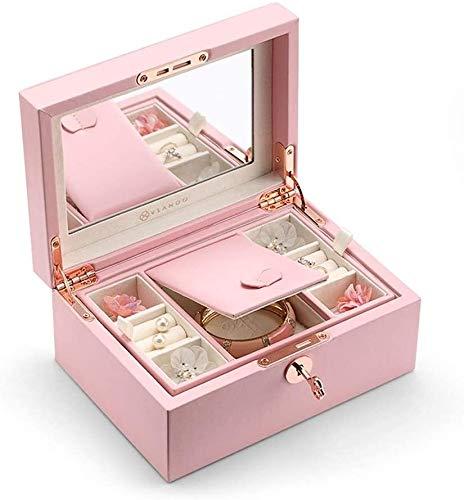 BESTPRVA Joyería del reloj del almacenaje Caja de almacenamiento Inicio Joyero rosa Expositor de madera con cerradura de la joyería de almacenamiento de casos for los anillos pulseras pendientes del c