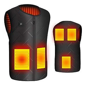 Chaleco Calefactable Chaleco Térmico Electrico para Hombre Mujer con Cable USB Chaleco Eléctrico 5V Chaleco Calefactor con 3 Temperatura Controles para Senderismo Caza Ciclismo Chaquetas (XL(X-Large))