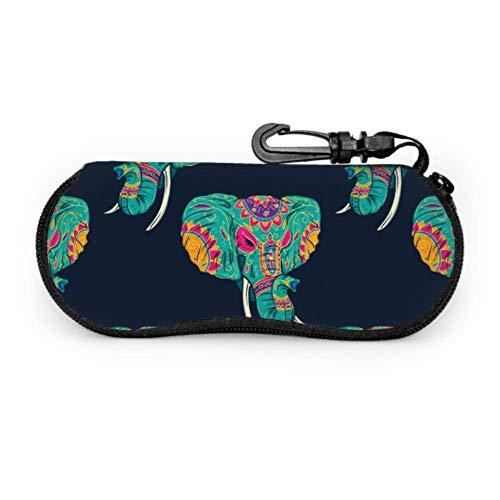 Fundas de gafas Flor de elefante étnico tribal Ultra Ligero Neopreno con Cremallera Almacenaje Lente Suave Sunglasses Case 8 * 17cm
