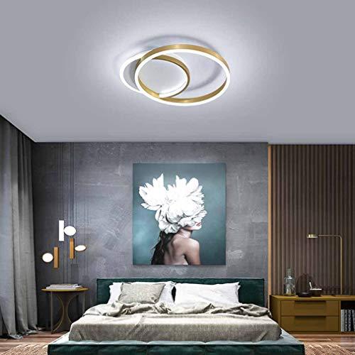 WMING Lámpara de Techo LED Pantalla de acrílico Lámpara de Dormitorio Moderna Lámpara Colgante Sencillez de Techo Regulable Control Remoto Lámpara de Techo para habitación de niños,Oro,L50CM