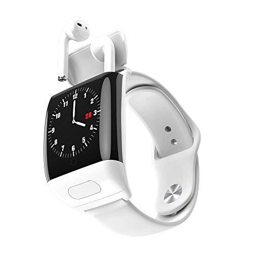 Reloj inteligente de moda con auriculares inalámbricos Bluetooth 2 en 1 reloj inteligente de deportes Bluetooth información de llamada monitoreo del sueño diario wear-white