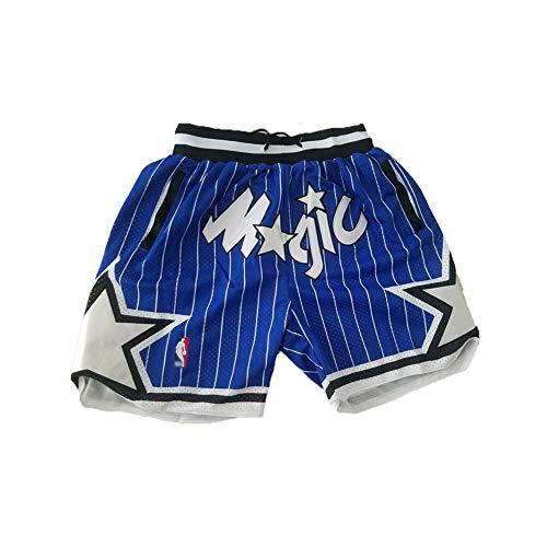 Anfernee Hardaway # 1 Orlando Magic Basketball Jersey, Jugendliche, Herren Fans bestickt Retro Weste, Sommer schnell trocknend atmungsaktiv Mesh Sweatshirt Shorts (S-2XL) L Blau (B)