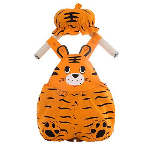 Bonfor Ropa Bebe Niño 0-3 meses Conjuntos Sombrero + Mono, Impresión 3D Pelele Bebe Niño Verano 3-6 meses - Body Recien Nacido Divertidos (Tigre-naranja, 6-9 meses)