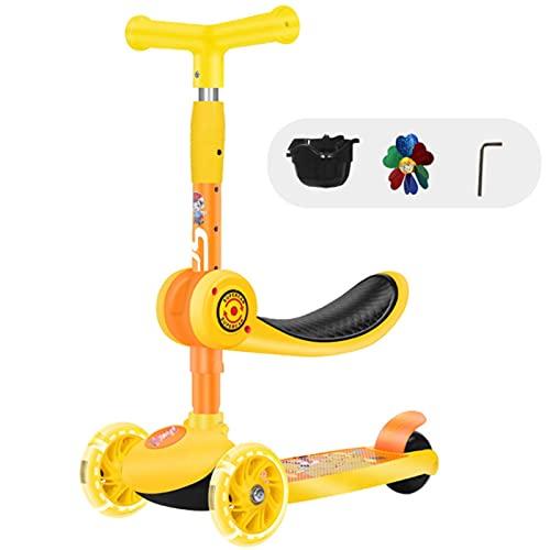 HDZW 3 en 1 Balance de Scooter para niños con Asiento T-Bar Plegable 3 Ruedas Paseo de bebé en Juguete PU LED Light UP LUCHES Ajustable ALTURÓN 1-6 AÑOS 4.23 (Color : Yellow)