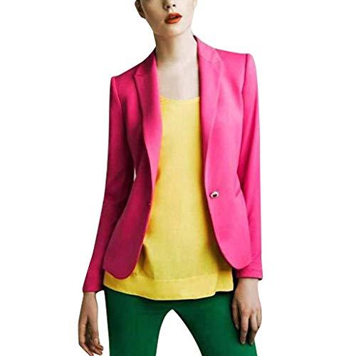 YEBIRAL Abrigos Mujer Rebajas,Primavera y Otoño Elegantes Color Sólido Formal Slim Fit Elegant Chaquetas Cárdigans OutwearRopa de Traje(2XL,Rosa Caliente)