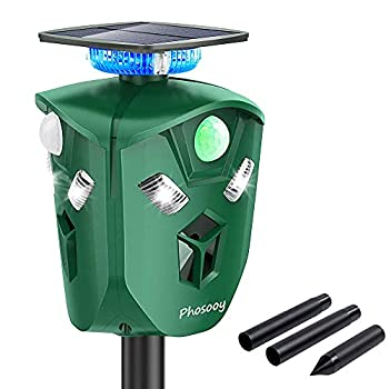 Phosooy Ultrasonic Animal Repeller 360 Degree Solar Powered Rodent Repeller with Motion Activated Flashing LED Light Repel Dogs Wild Cat Raccoon Rabbit Deer & More