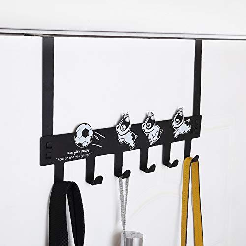 Eywlwaar Over The Door 6 Hanger Rack Decorative Metal Rack for Home Use Hats Coats Key Bag Clothes Scarfs Hooks Style-1
