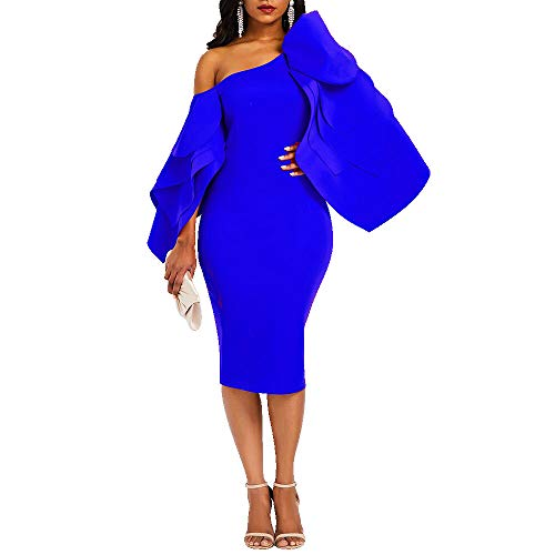 VERWIN Bodycon Dress for Woman Long Sleeve Knee-Length Ruffle Sleeve Off Shoulder Evening Dress (X-Large, Blue)