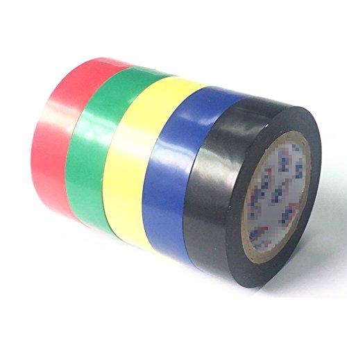 PEIUJIN Isolierband Elektriker Klebe Elektrisches Band Klebeband Tape PVC,5 Rollen 15mm x 10m - grün,schwarz,rot,blau,gelb (Set A 5 Rollen)