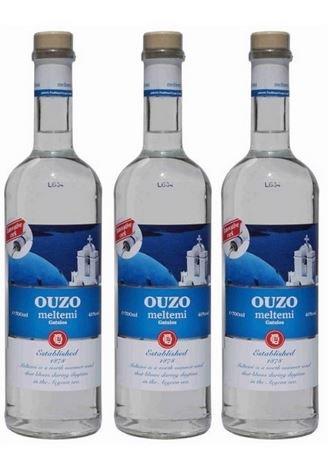 3x Ouzo Meltemi 40% Vol von Gatsios aus Griechenland - griechischer traditioneller Ouzo doppelt destilliert - Spar Set + 1 Probiersachet Frappe oder Olivenöl