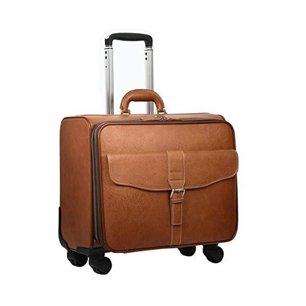41sVXnDncsL. SS600  - Leathario Bolsa Maleta de Viaje Cuero Auténtico Giratoria de Cabina Tamaño Grande Equipaje de Mano con Ruedas para…