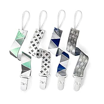 PandaEar Baby Pacifier Clips Solid Color 4 Pack Universal Holder Leash for Boys and Girls Teething Toys Teethers  Neutral