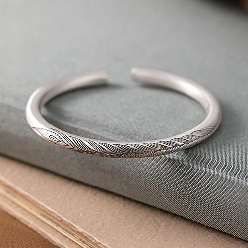 LIYDENG S999 Pure Silver Solid Simple Ladies Open Bracelet Silver Bangle Birthday Gift for Women Jewelry (Color : A, Size : Foot Silver)