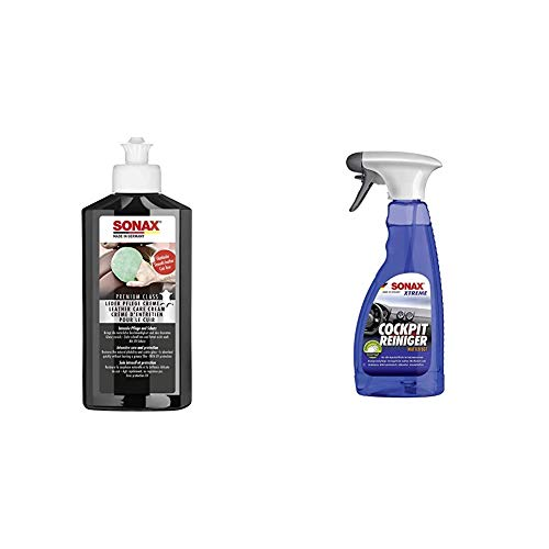 SONAX 40543015 Lederpflege & Xtreme CockpitReiniger Matteffect (500 ml) Reinigung und Pflege für alle Kunststoffoberflächen im Autoinnenraum | Art-Nr. 02832410