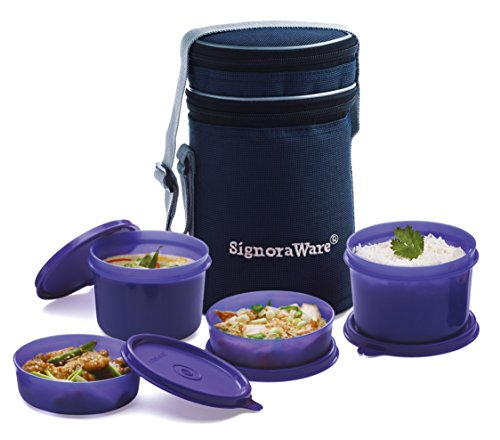 Signoraware Executive Lunch Box with Bag, 15cm, Deep Violet