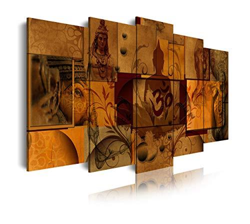 DekoArte 496 - Cuadros Modernos Impresión de Imagen Artística Digitalizada | Lienzo Decorativo Para Tu Salón o Dormitorio | Estilo Abstacto Asiatico Zen Feng Shui Colores Marrones | 5 Piezas 150x80cm
