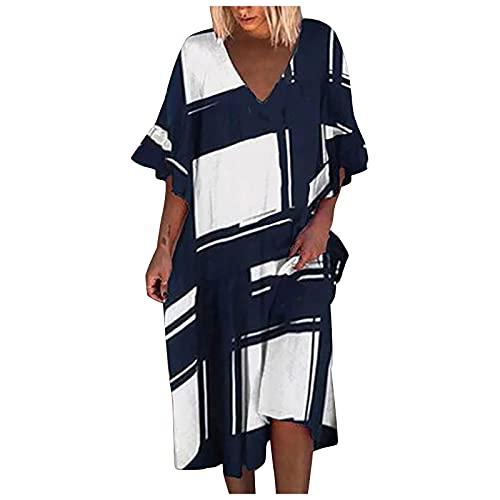 Liably Vestido de verano para mujer con estampado retro, de algodón, estampado abstracto, de manga corta, multicolor, elegante, suelto, para la playa Blanco S