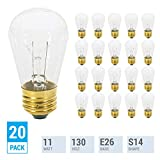 11S14/C, 11-Watt S14 Replacement Incandescent, Clear Glass Light Bulbs, 2700K Warm White, Dimmable, E26 Medium Base, Use Display-Sign, Indoor-Outdoor Patio,String Lights. (20 Pack Incandescent Bulbs)
