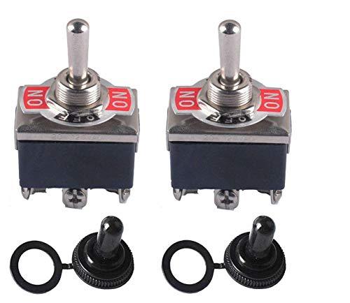 Interruptor Conmutador de Palanca ON-OFF-ON 3 Posiciones 6 Pin DPDT 15A 250VAC / 20A 125VAC con Tapa de Arranque Impermeable Poweka (2 Juegos)