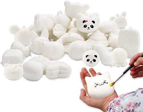 WATINC Random 30 Pcs DIY Squeeze Toys Cream Scented Kawaii Simulation Lovely Toy Medium Mini Soft Food Squeeze Bread Toys Keychains, Phone Straps, Bonus Random Stickers