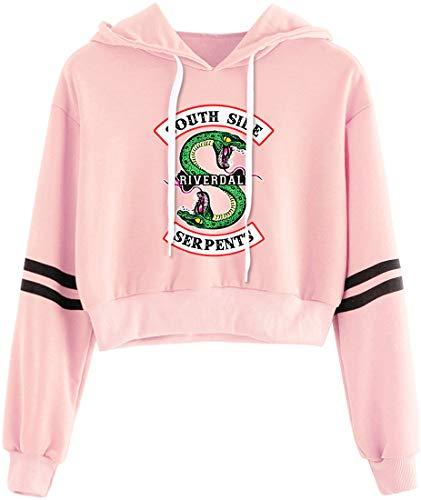 OLIPHEE Sudaderas con Capucha Retro Primavera con capuchacon con Logo de Valle de Riverdale para Mujer 8294fenXS-1