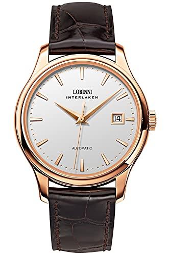 Lobinni Reloj mecánico automático de acero inoxidable para hombre con fecha, analógico, casual, de moda, para hombre, Rosa-Blanco-Marrón,
