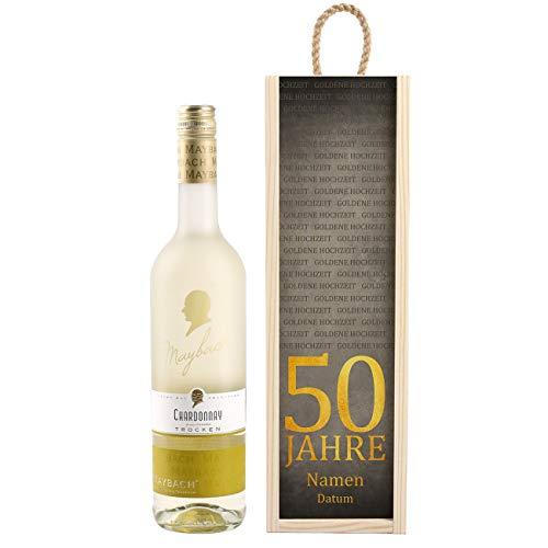 Herz & Heim® Maybach Wein-Geschenk zur Goldenen Hochzeit mit personalisierter Weinkiste - Weißwein zur Auswahl Chardonnay