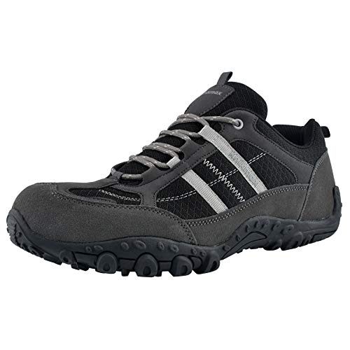 Knixmax - Zapatillas de Senderismo para Hombre, Zapatillas de Montaña Trekking Trail Ligeros Cómodos y Transpirables Zapatillas de Seguridad Low-Top Antideslizante de Deporte, Gris EU 45