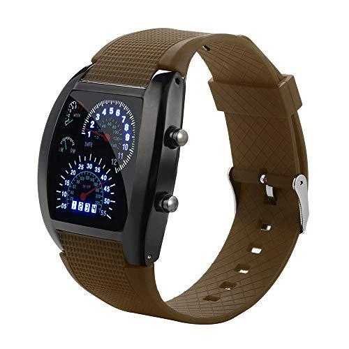 Uhren Herren Armbanduhr Herrenmode LED Licht Flash Turbo Tachometer Sport Auto Dial Meter Uhr Mode Sport Uhren,ABsoar