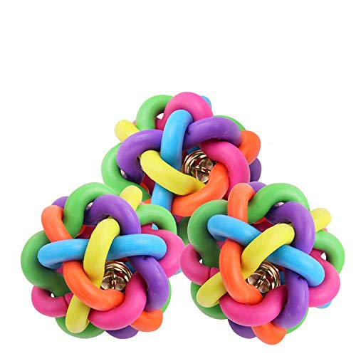 Willlly 3 juguetes para mascotas coloridos campanas tejidas de bolas para perros, juguetes molares de goma para dentición, juguetes de sonido (color: 110, talla única: 9 cm)