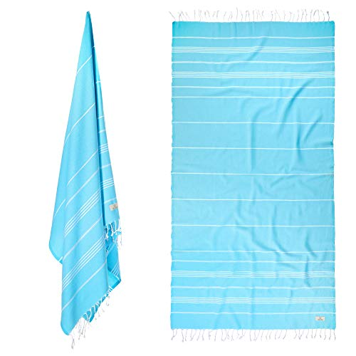 Zaza Towels % 100 Cotton Turkish Beach Towels [38x72] X-Large, Pre-Washed, Oeko-TEX Certified - Quick Dry, High Absorbency - Eco Friendly Soft Decorative Bath, Sauna, Picnic Towels (Baby Blue)