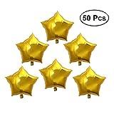 TOYMYTOY 50pcs Globos de Estrellas de Cinco Puntas de Papel de Aluminio para Decoración de la Fiesta de Cumpleaños (Oro)