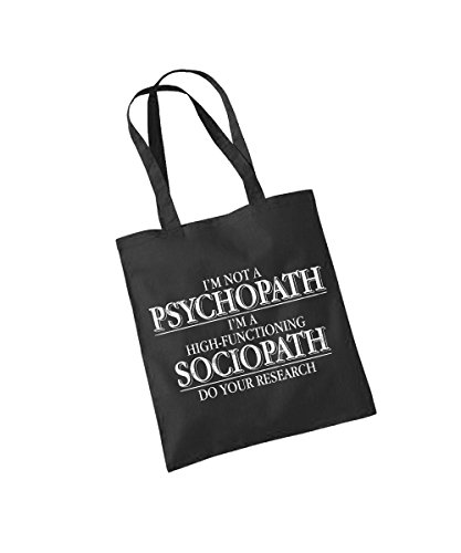 - Sherlock – I'm not a Psychopath I'm a high-functioning Sociopath – Baumwolltasche Schwarz, langer Henkel