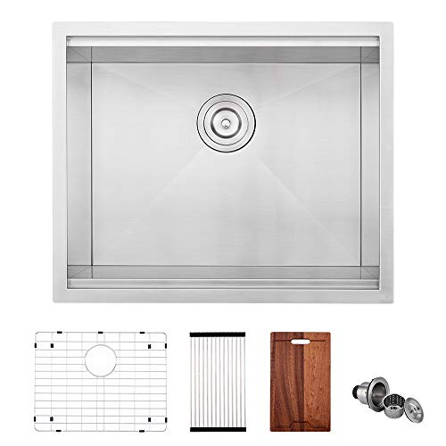 Big Save! VOKIM Workstation 33-inch Farmhouse Flat Apron Front 16 Gauge Single Bowl Stainless Steel Kitchen Sink with Integrated Ledge and Accessories