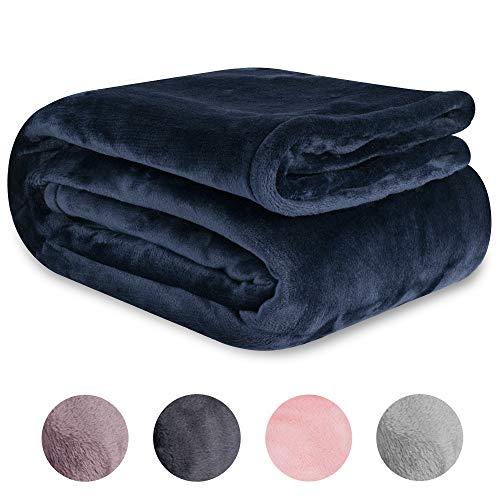 "GlamVie home Microplush Fleece Throw Blanket Ultra-Plush, Lightweight, Soft, Cozy, Warm All-Season Blanket for Bed, Couch, Travel (60"" x 70"") (Midnight Navy)"