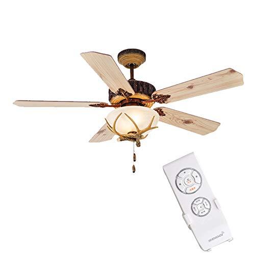 NB YULUBAIHUO Antique Pine AC-DC-Deckenventilator Lampe Pull-Fernbedienung/Kabel 52 Zoll-Deckenleuchte Blower 220V Led (Blade Color : Remote Control, Voltage : 220V)