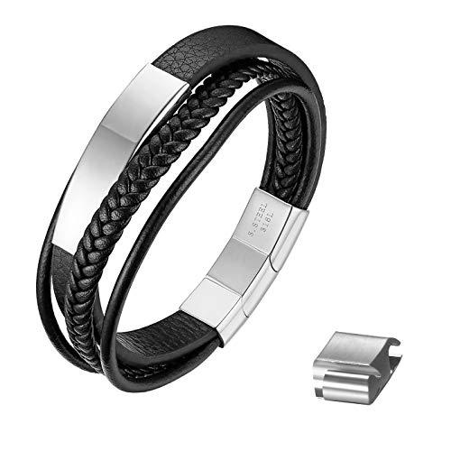 JewelryWe - Pulsera de piel premium para hombre, cierre magnético de acero inoxidable, pulsera personalizada Silber Ohne Gravur
