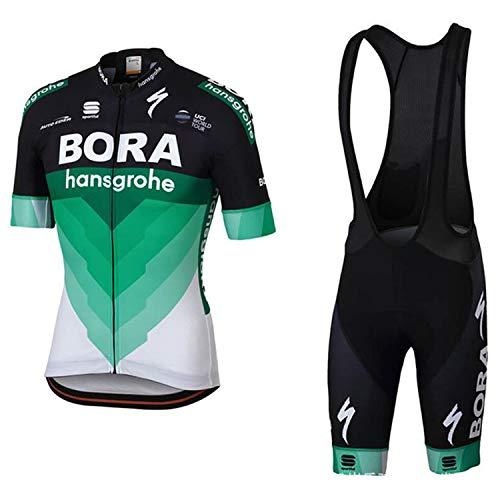WOLFIRE WF Traje de Ciclismo para Hombre de Equipos. Culotte y Maillot. con 5D Gel Pad. para MTB, Spinning, Bicicleta de Carretera (Bora Negro Verde, XL)