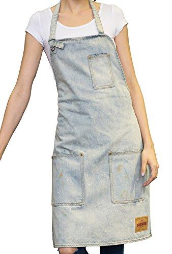 VANTOO Tablier unisexe en jean avec poches pratiques pour homme et femme Blanc