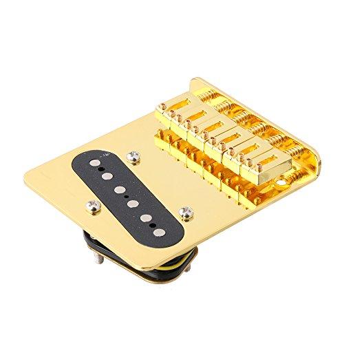 LYWS 6 pastilla de puente para Fender Telecaster Tele guitarra eléctrica (dorado)