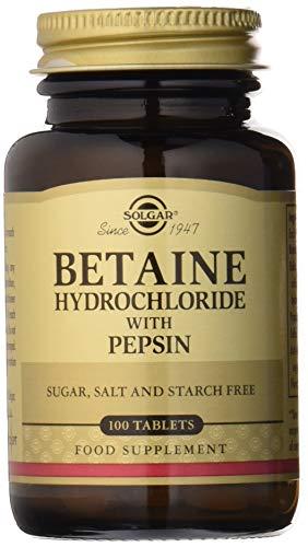 Solgar Betaína Clorhidrato con Pepsina, 100 Comprimidos