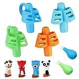Lot de 10 Poignée Crayon Set,Guide Doigt Enfant,Grips pour Crayon Silicone Pencil Grips Ergonomique Aide Ecriture pour Enfants, Adultes Droitiers et Lefties et Besoins Spéciaux