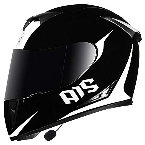Casco de Moto Abatible con Bluetooth Cascos Integrales Modulares Abatibles de Motocicleta con Doble Visera Homologado ECE Hombres y Mujeres Casco de Choque de Carreras de Motocross F,M